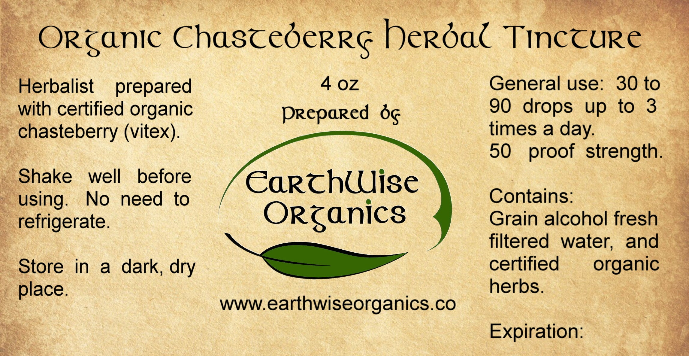 chasteberry organic herbal tincture label