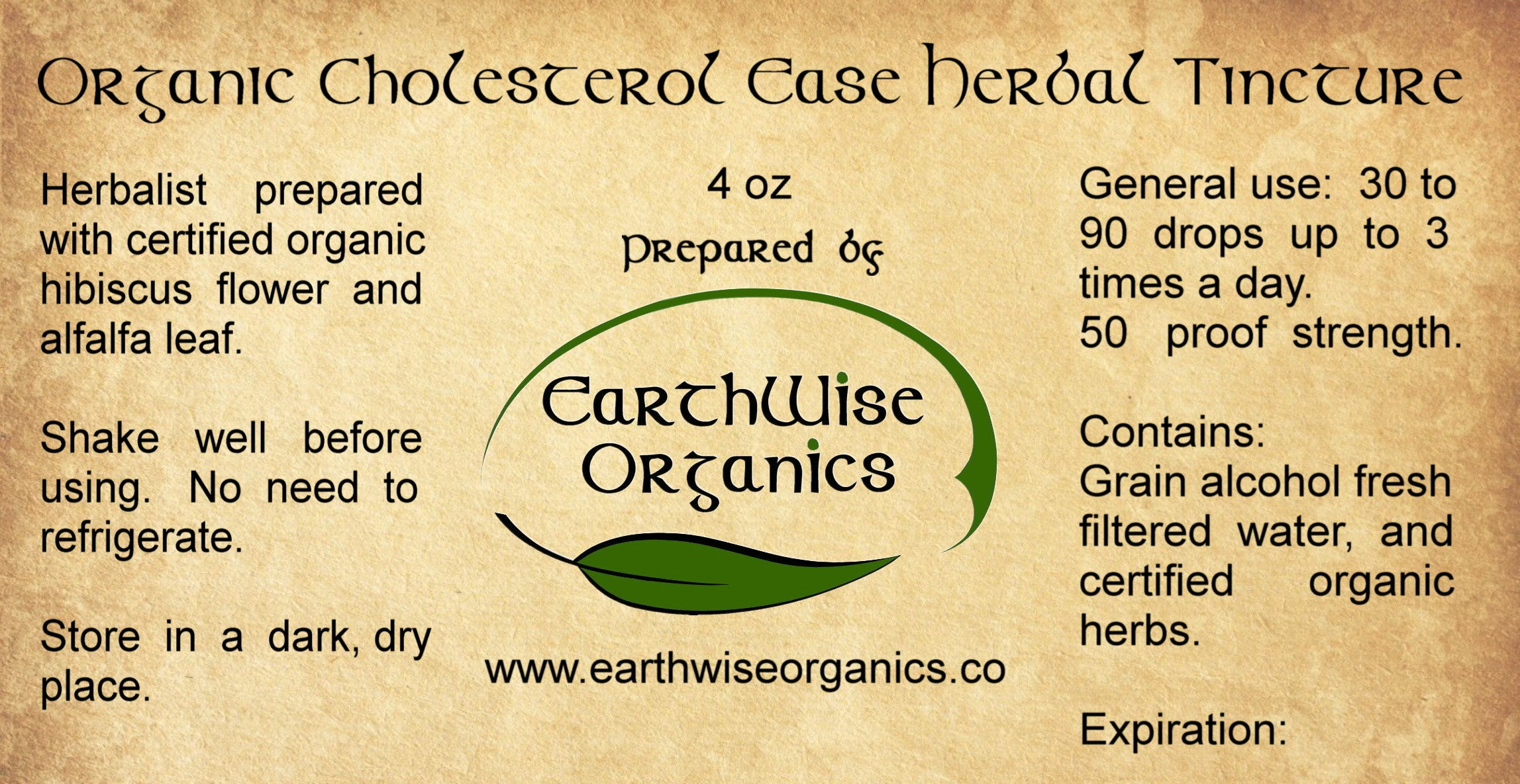 cholesterol ease organic herbal tincture label