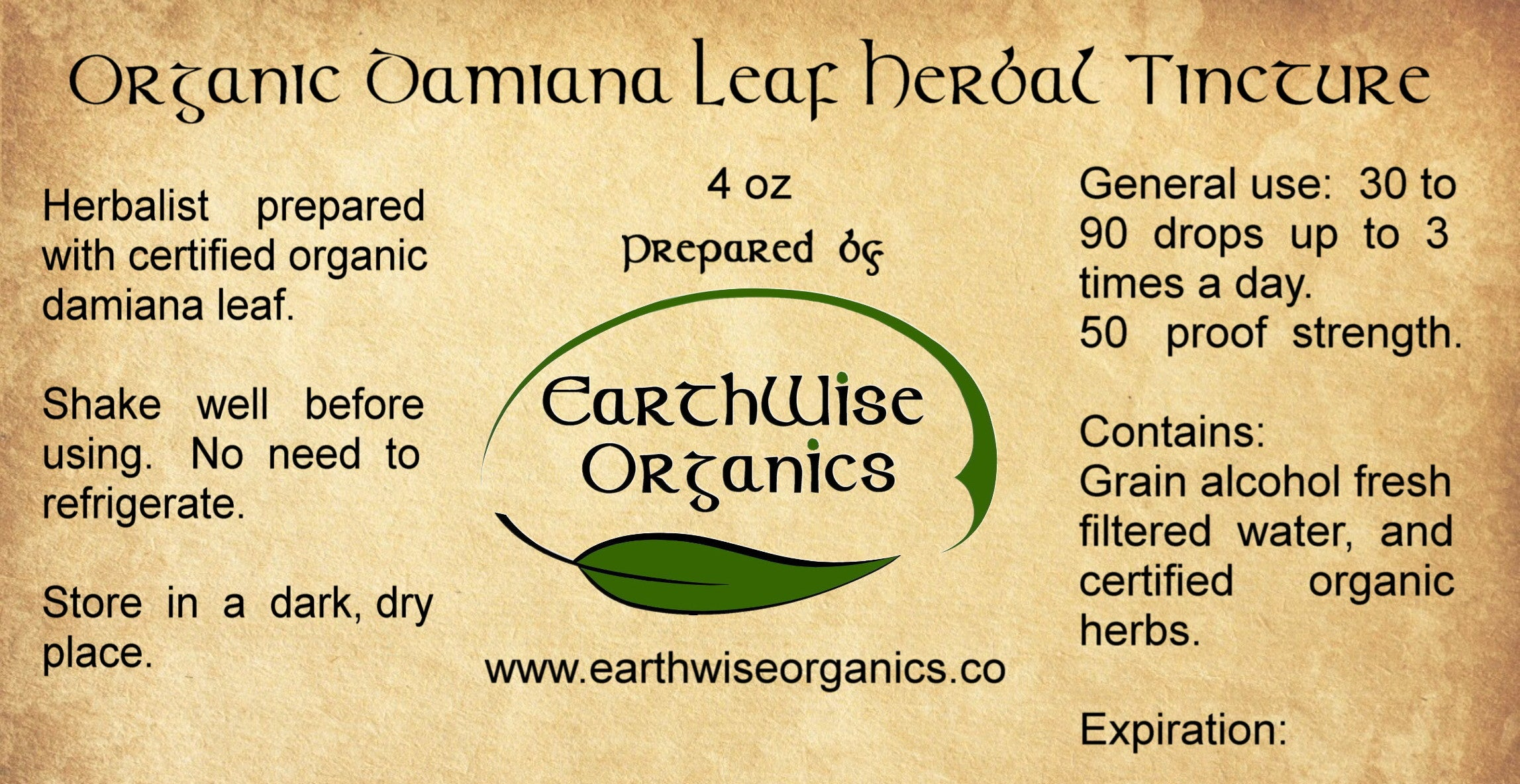 damiana organic herbal tincture label