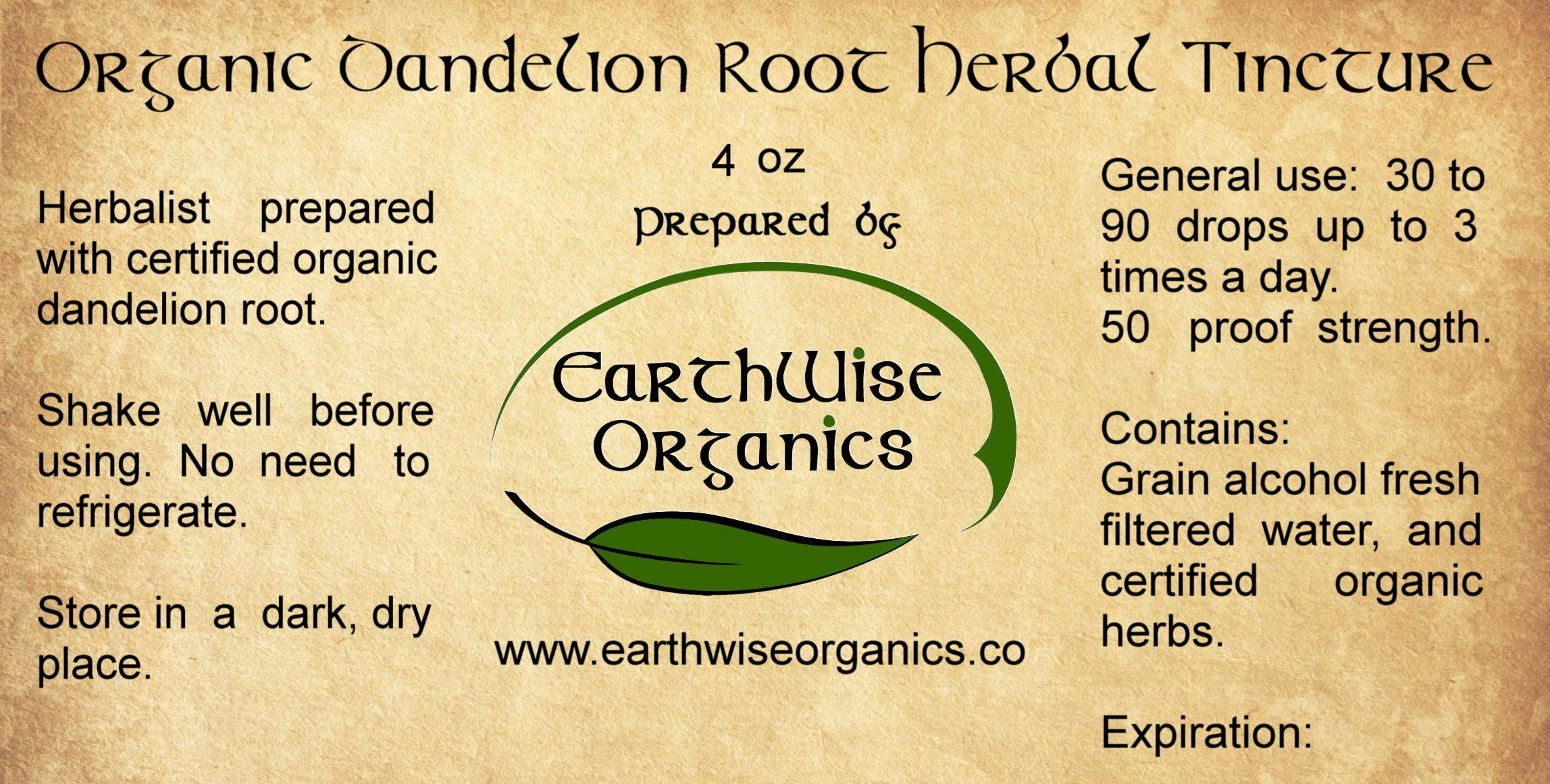 dandelion root organic herbal tincture label