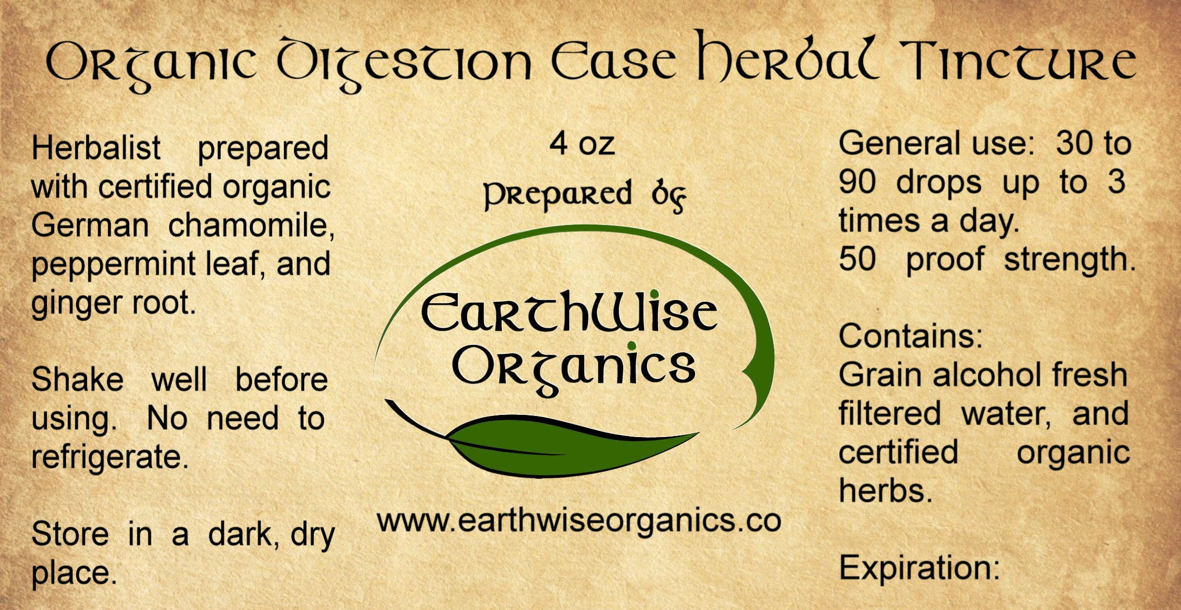 digestion ease organic herbal tincture label
