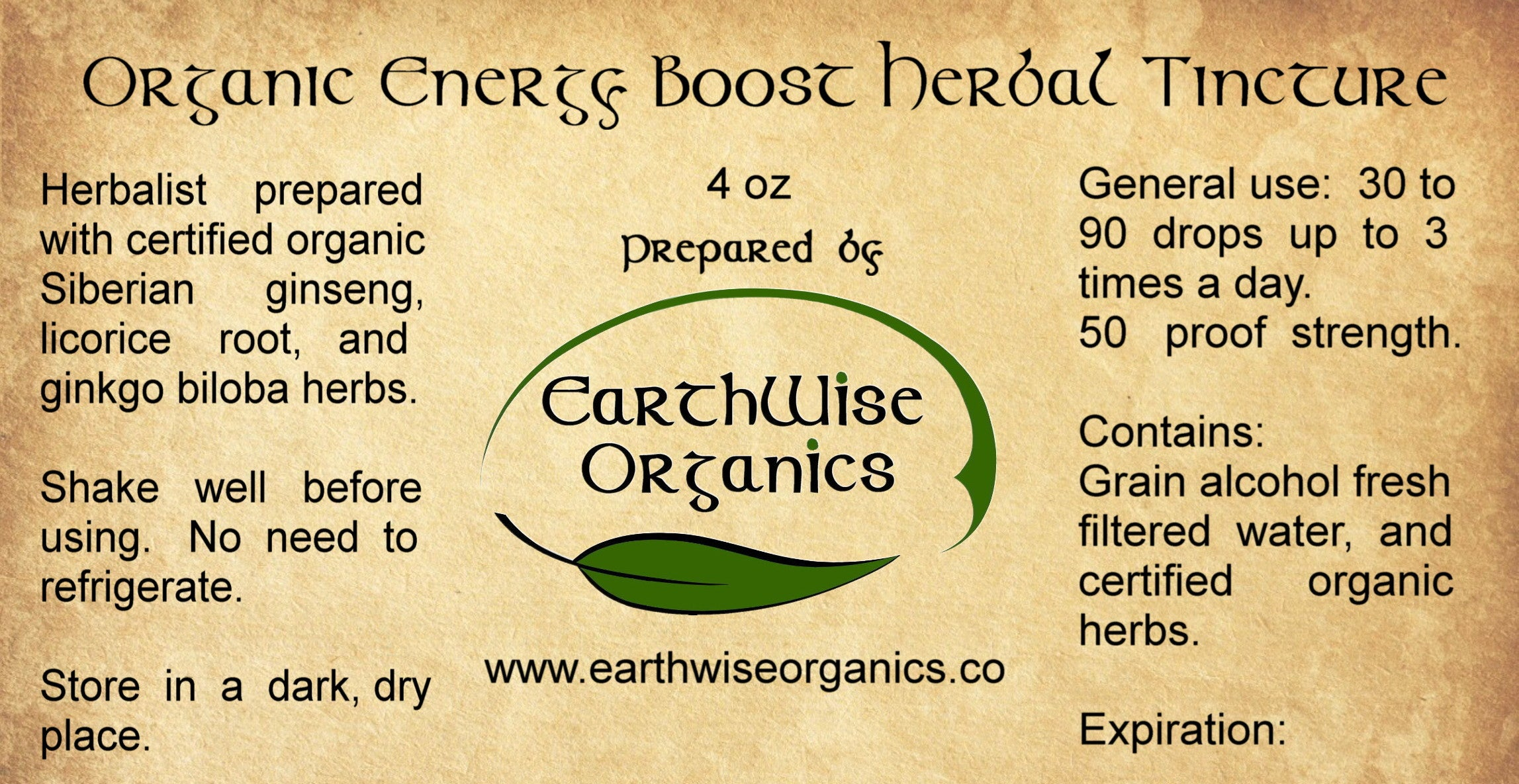 Energy boost organic herbal tincture label