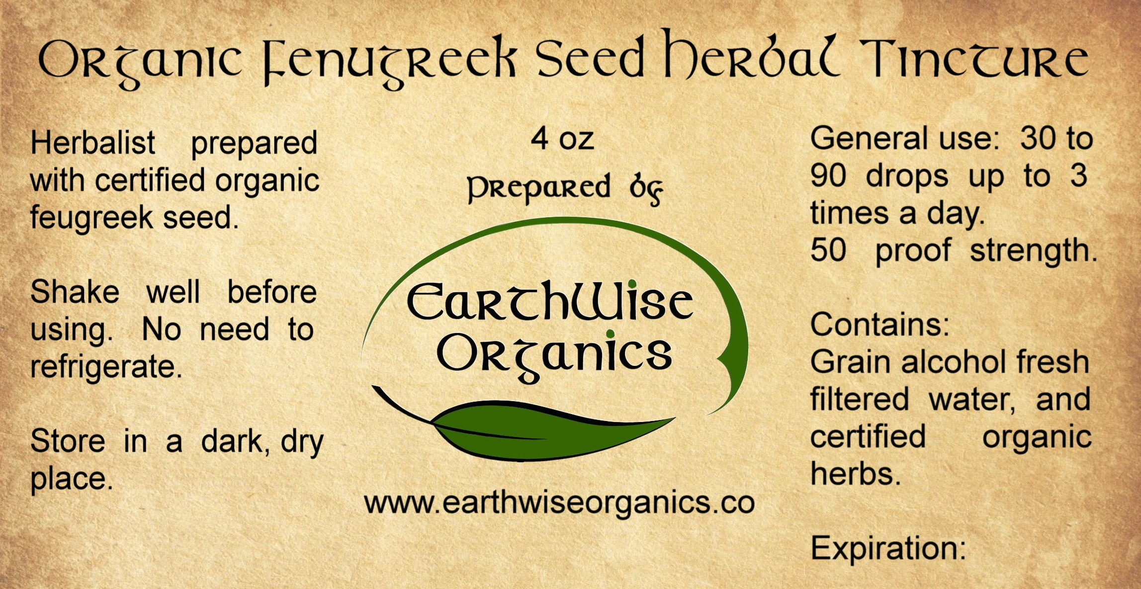 fenugreek organic herbal tincture label