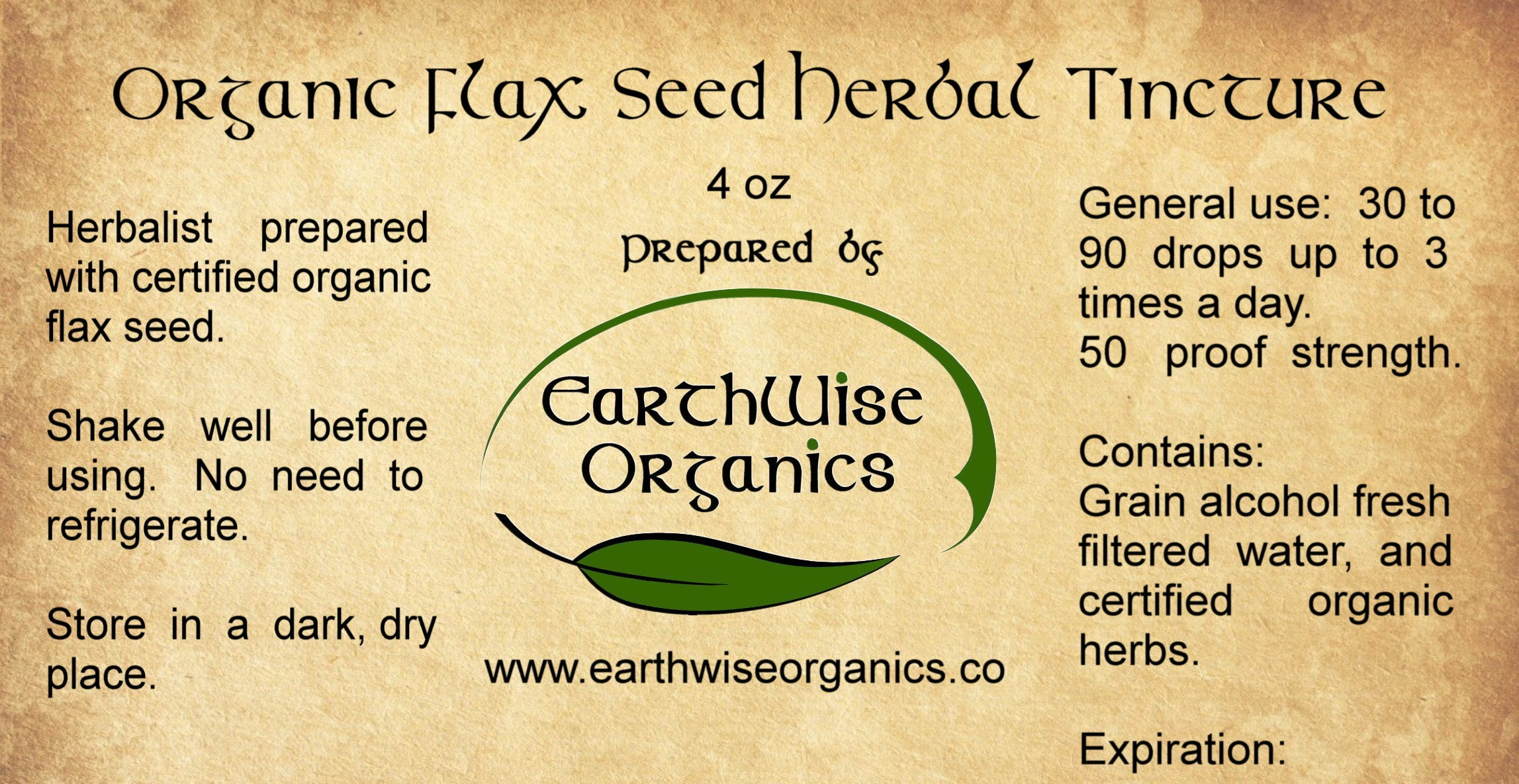flax seed organic herbal tincture label