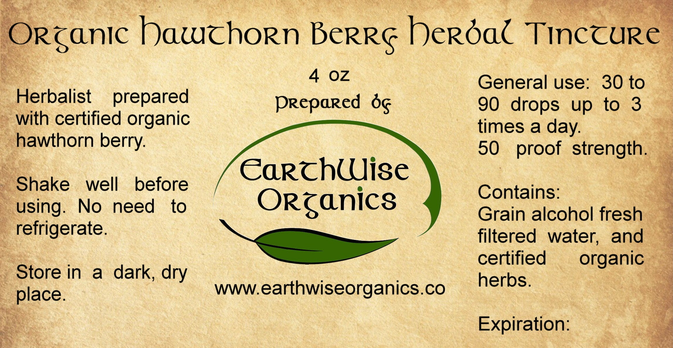 hawthorn berry organic herbal tincture label