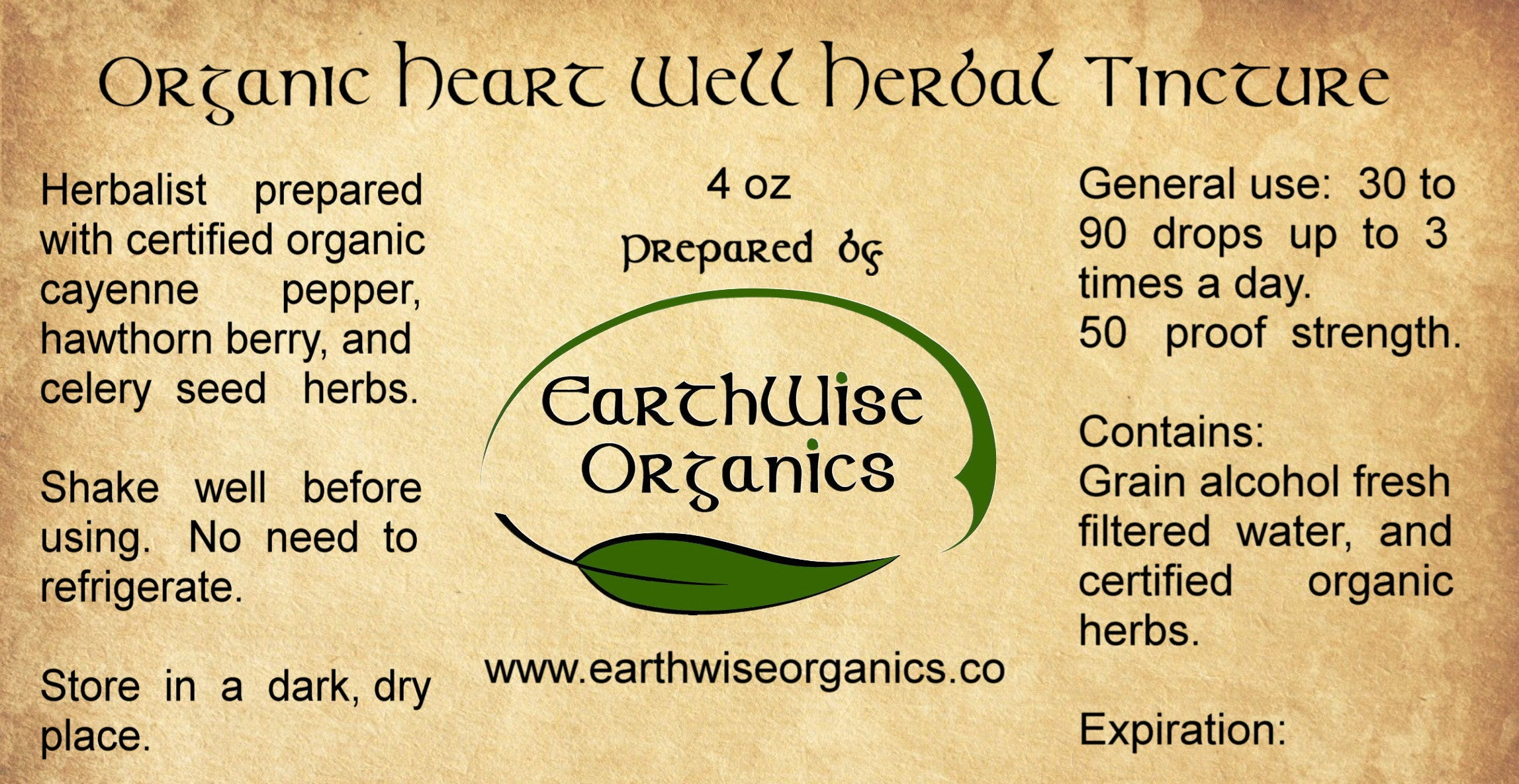heart well organic herbal tincture label