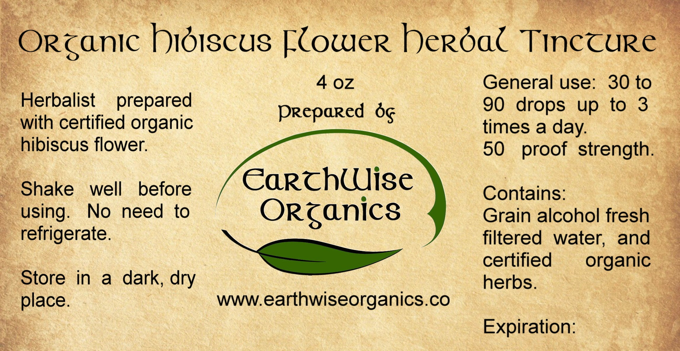 hibiscus organic herbal tincture label