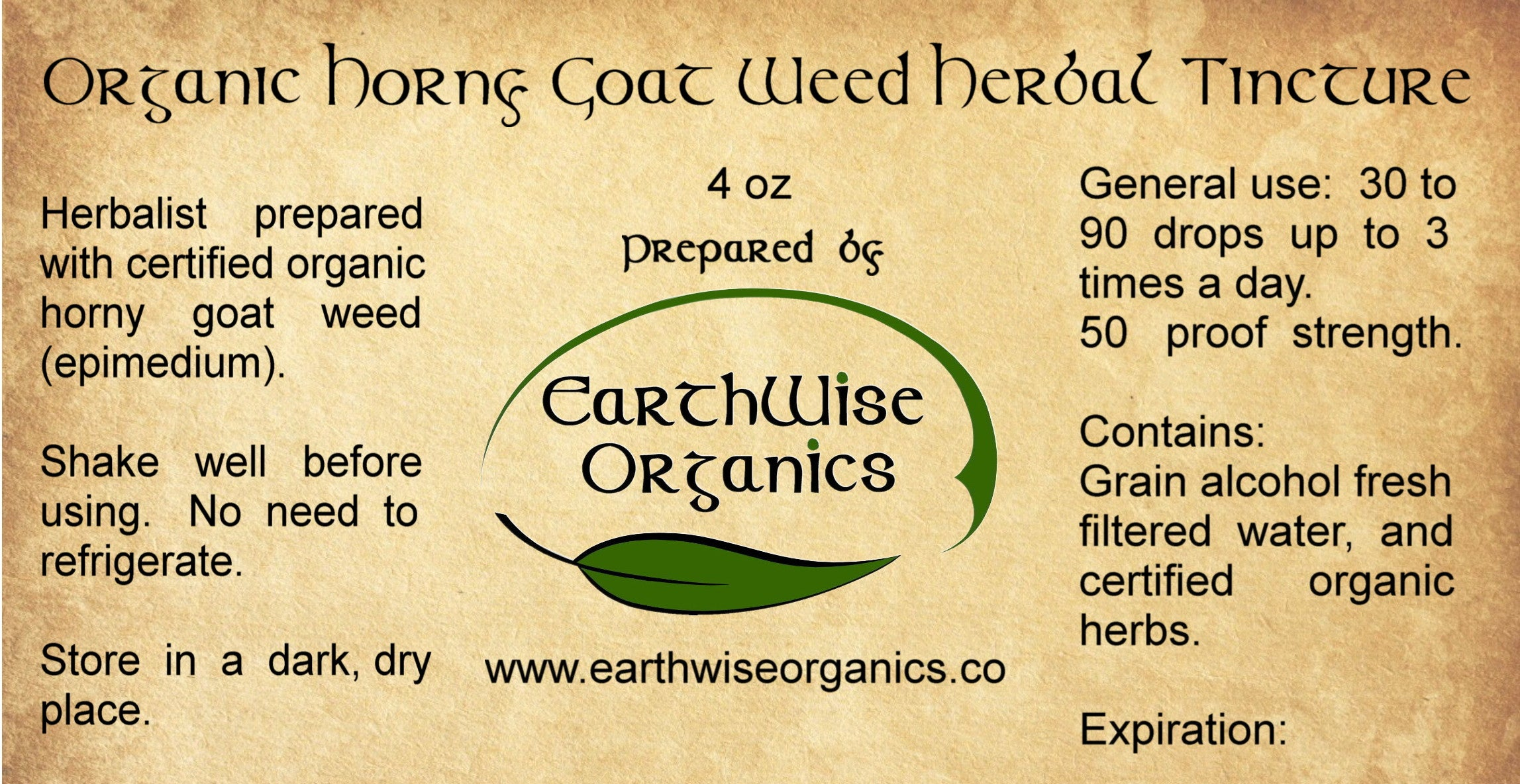 horny goat weed organic herbal tincture label