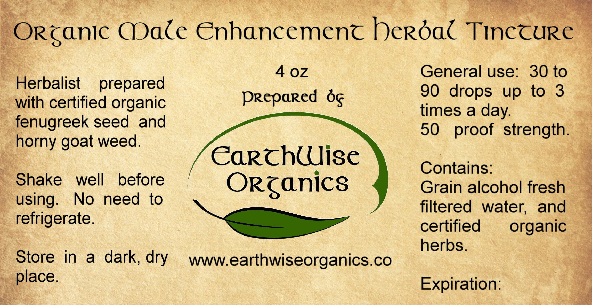 male enhancement organic herbal tincture label