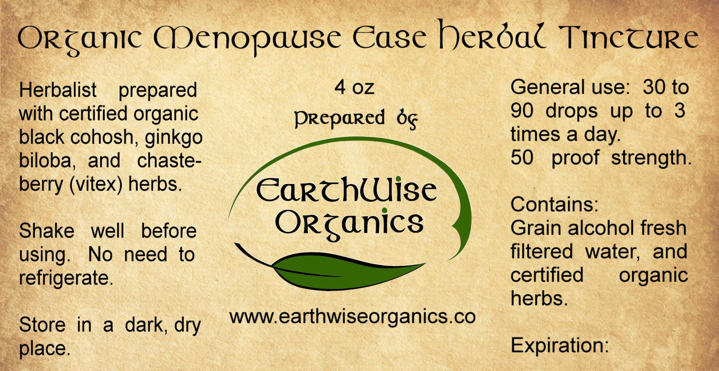 menopause organic herbal tincture label
