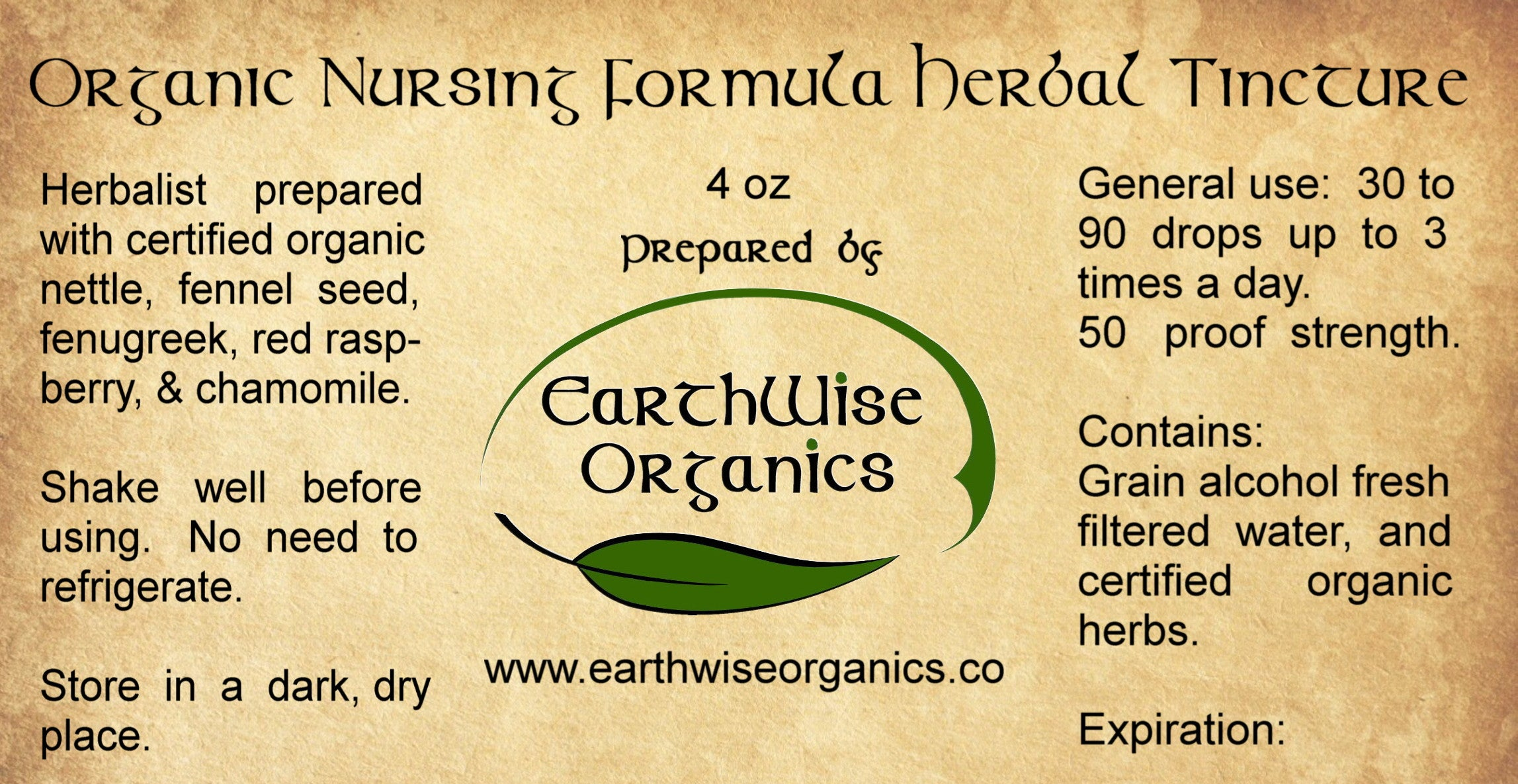 nursing organic herbal tincture label