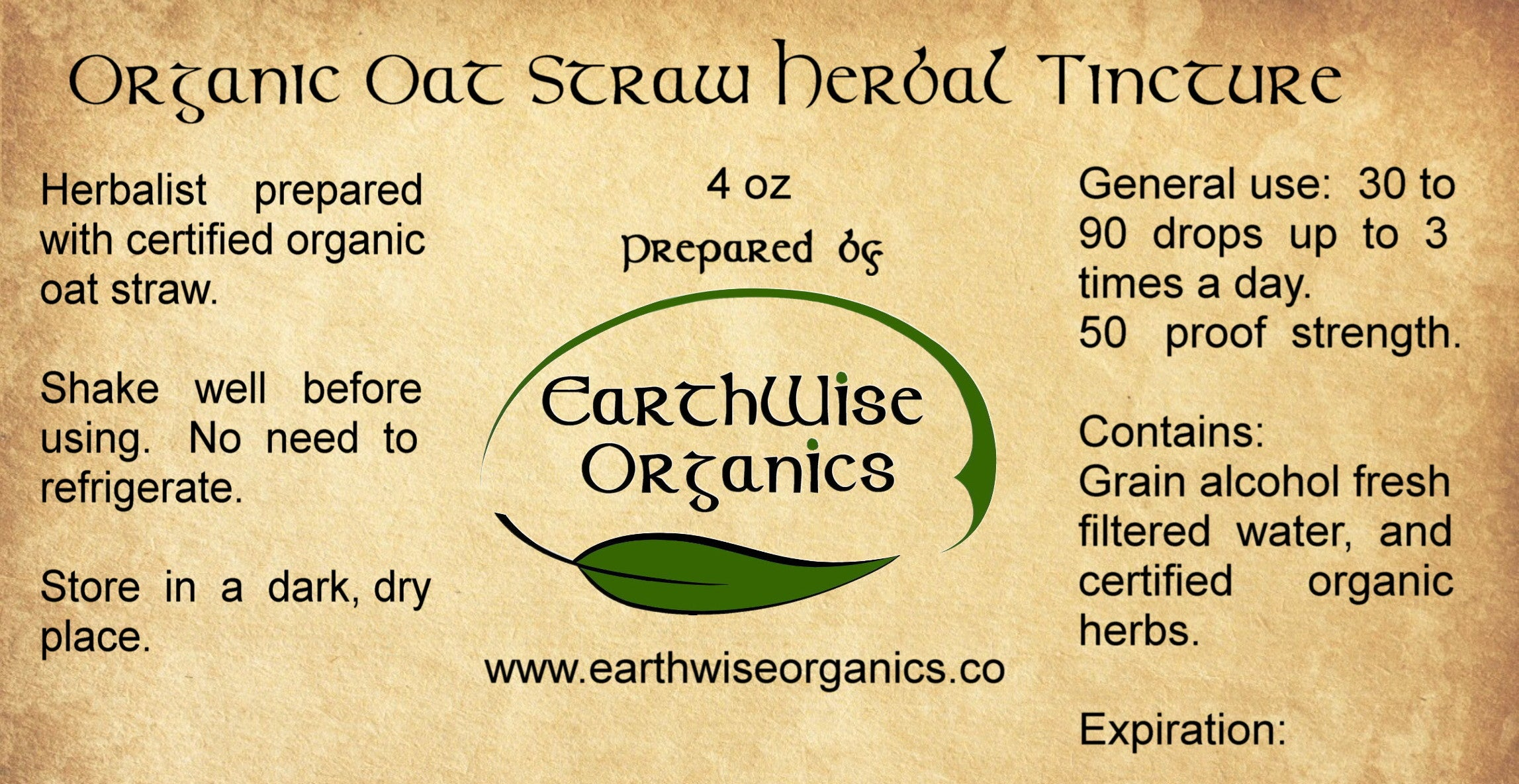 oat straw organic herbal tincture label