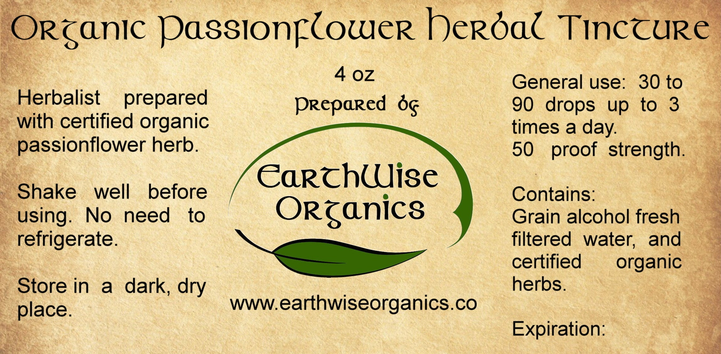 passionflower organic herbal tincture label