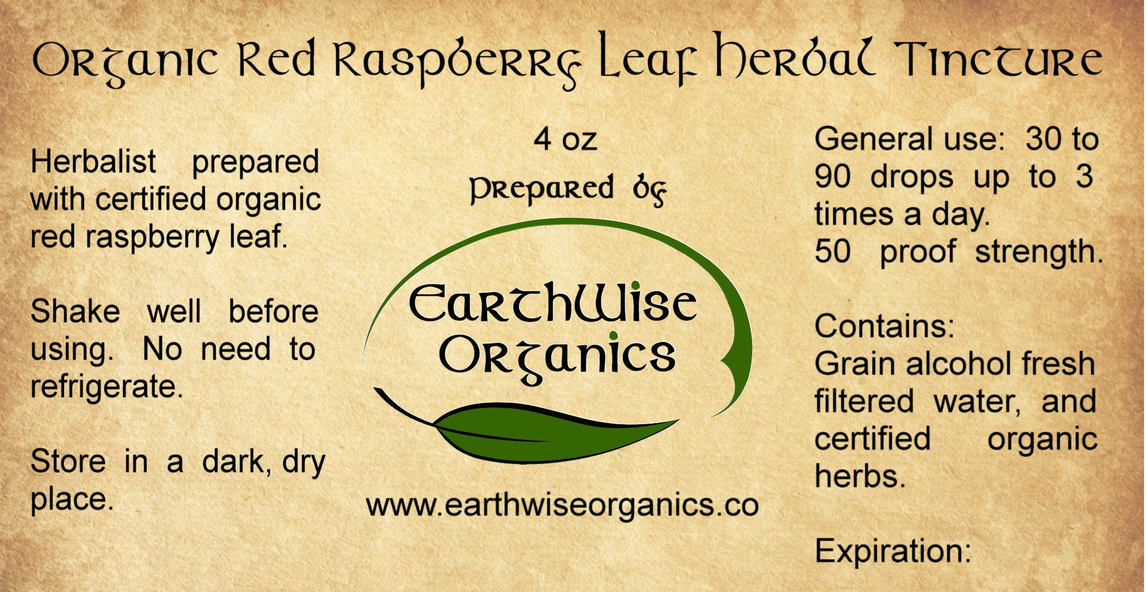 red raspberry organic herbal tincture label