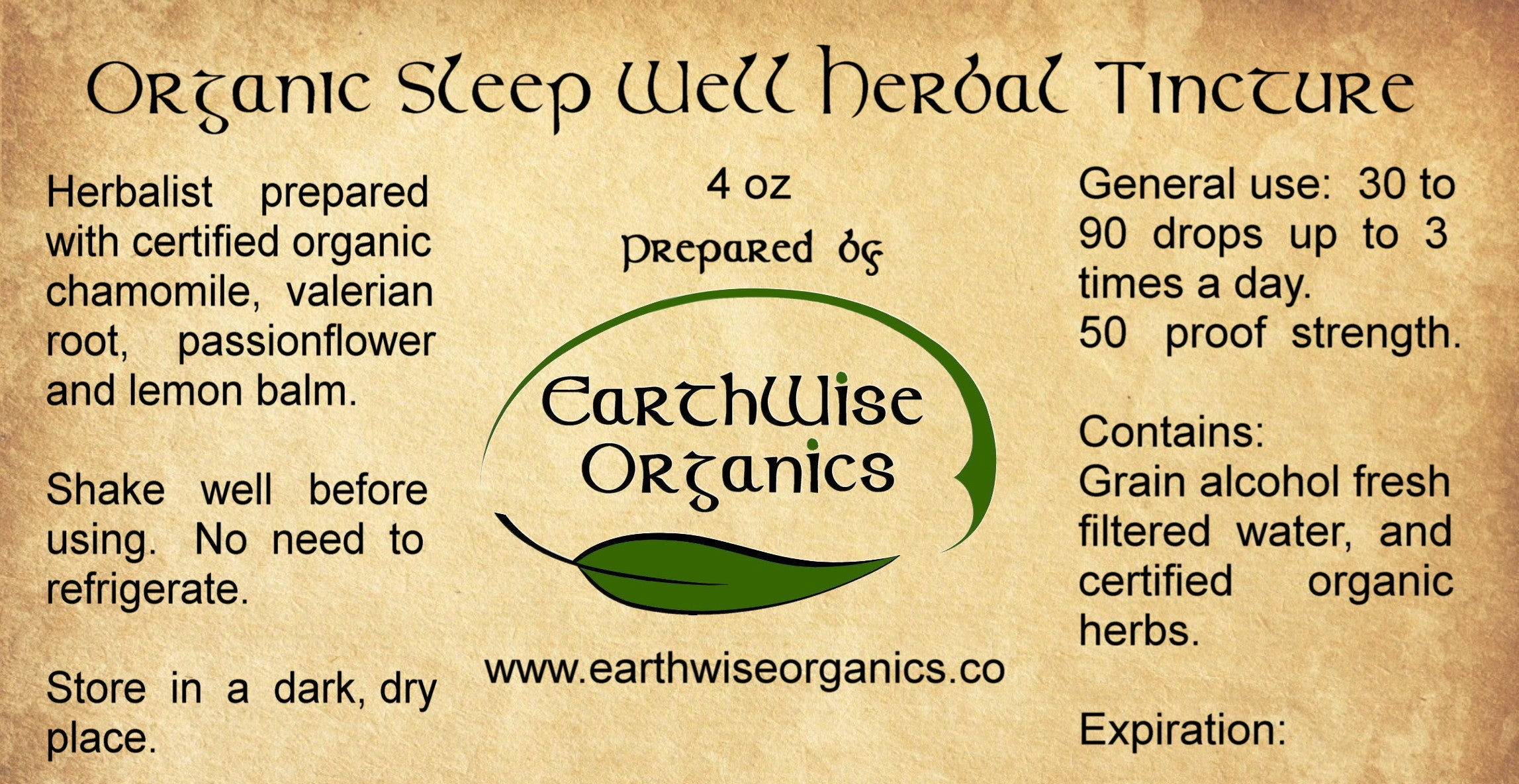 sleep well organic herbal tincture label