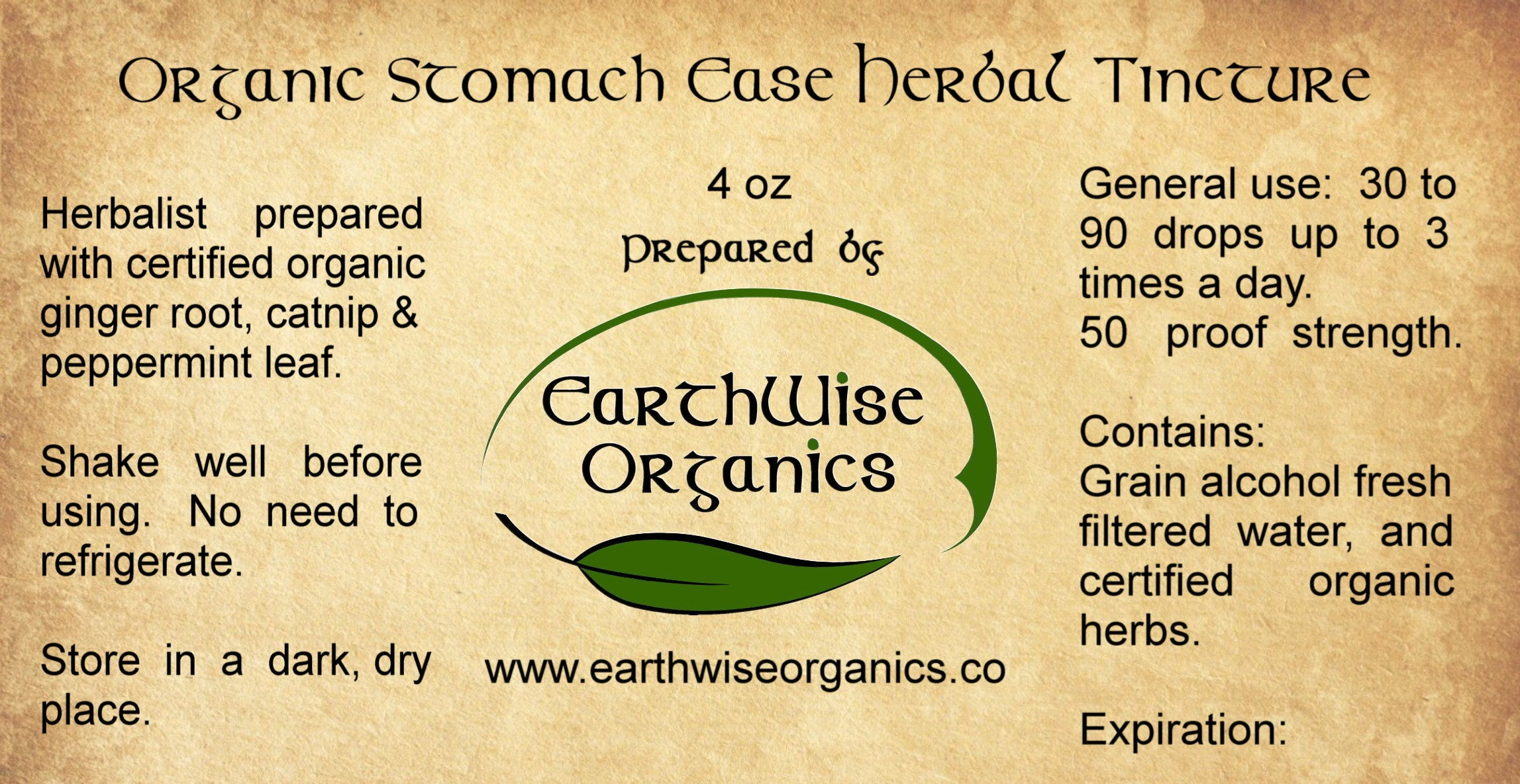 stomach ease organic herbal tincture label