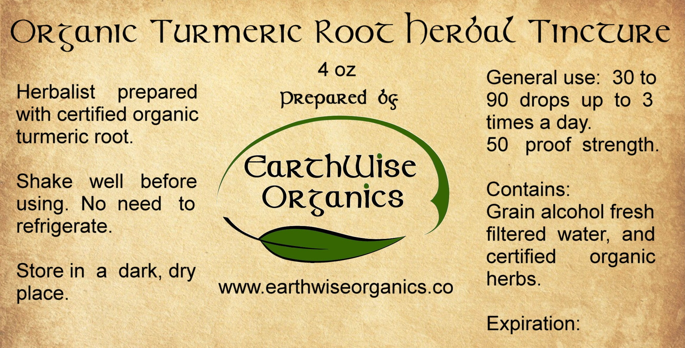 turmeric organic herbal tincture label