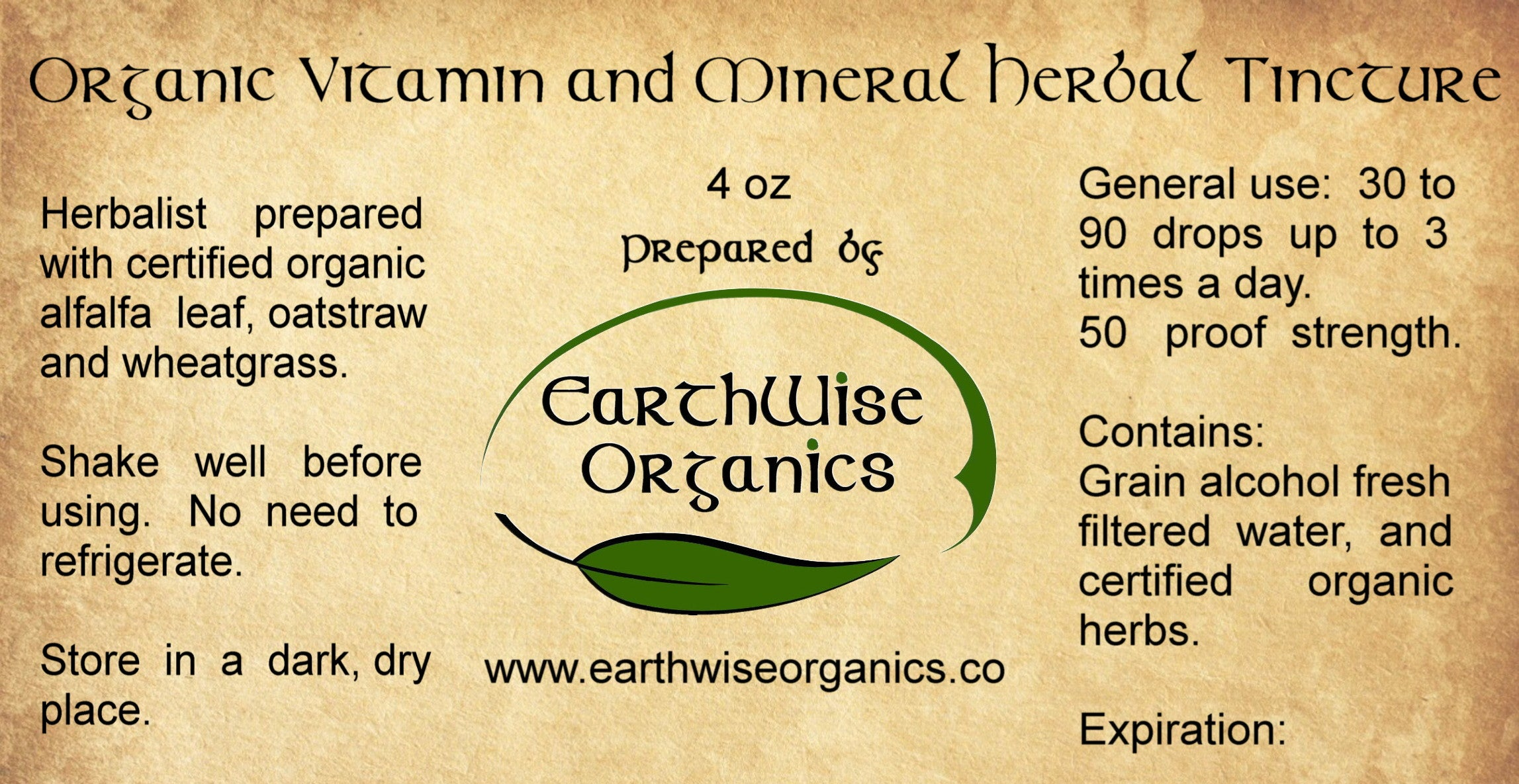 vitamin mineral organic herbal tincture label