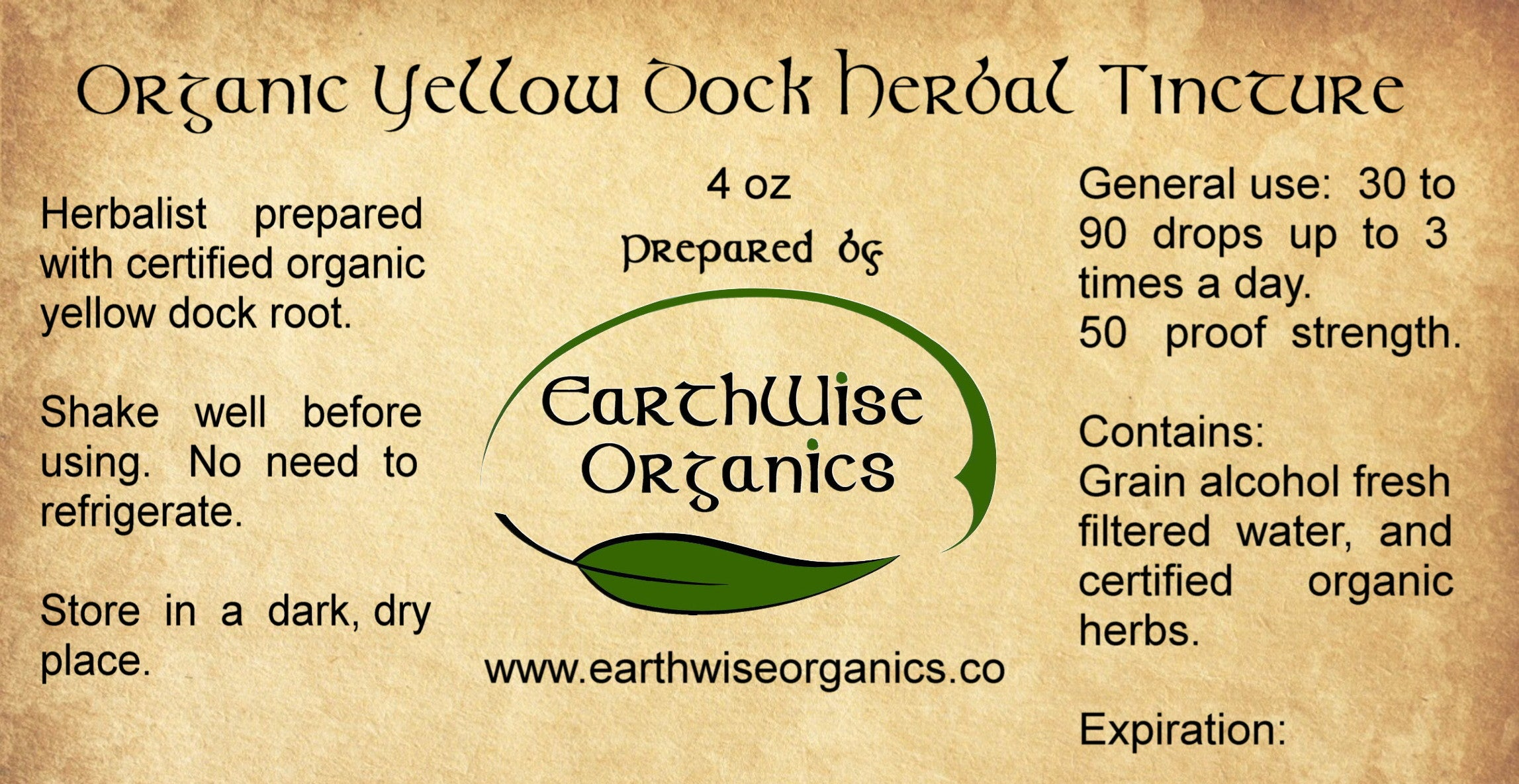 yellow dock organic herbal tincture label