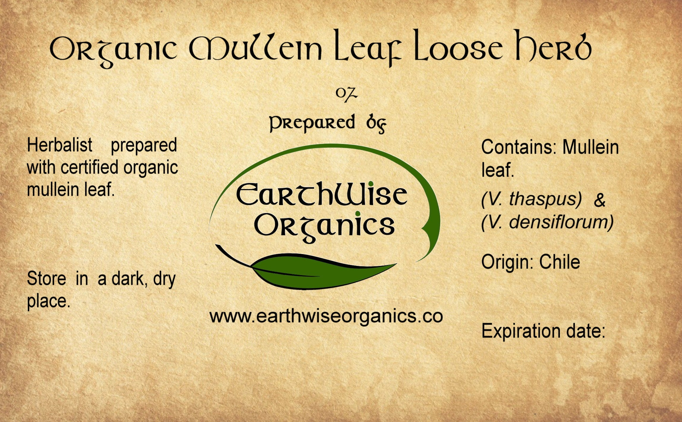 mullein organic herb loose label