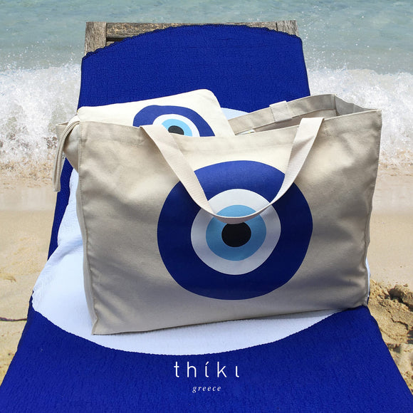 The Evil Eye Cotton Canvas Beach Bag