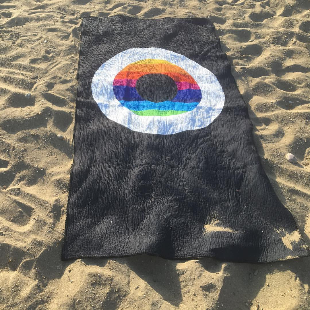 Black Evil Eye Rainbow Beach Towel