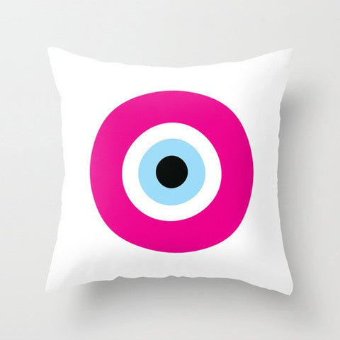 Pink Evil Eye Pillow / polyester ON SALE