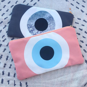 Peach / Grey Rock cosmetic bag