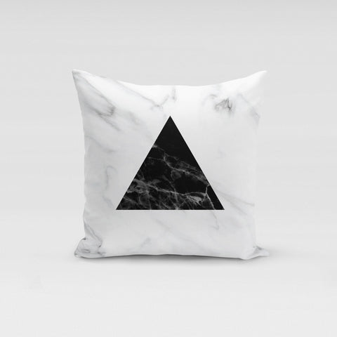Black Triangle Marble Pillow