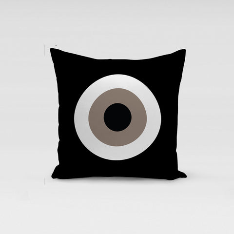 Black Beige  Evil Eye Pillow