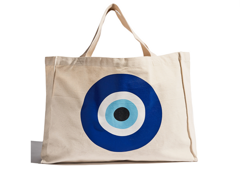 The Evil Eye Cotton Canvas Beach tote Bag