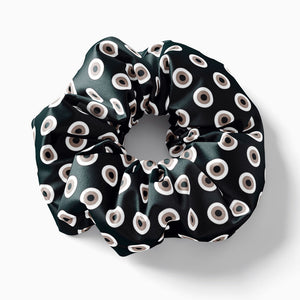 Black Beige Evil Eye scrunchie