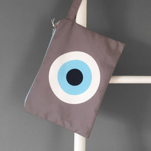 Beige Evil Eye Clutch