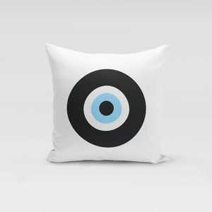 White Black Evil Eye Pillow