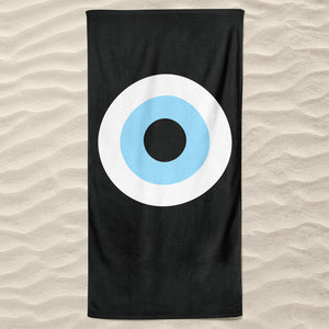 Black Evil Eye Beach Towel