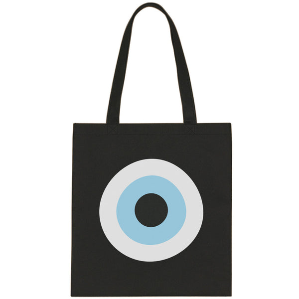Black Evil Eye canvas tote bag
