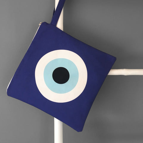 Blue Evil Eye Swim Bag