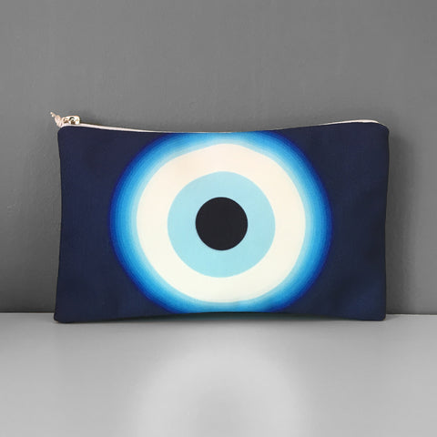 Blue Waves Evil Eye cosmetic bag
