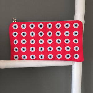 The Coral Evil eye pattern cosmetic bag