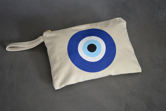 Evil Eye cotton canvas clutch