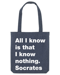 All I know denim canvas tote bag