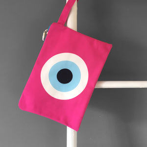 Fucshia Evil Eye Clutch