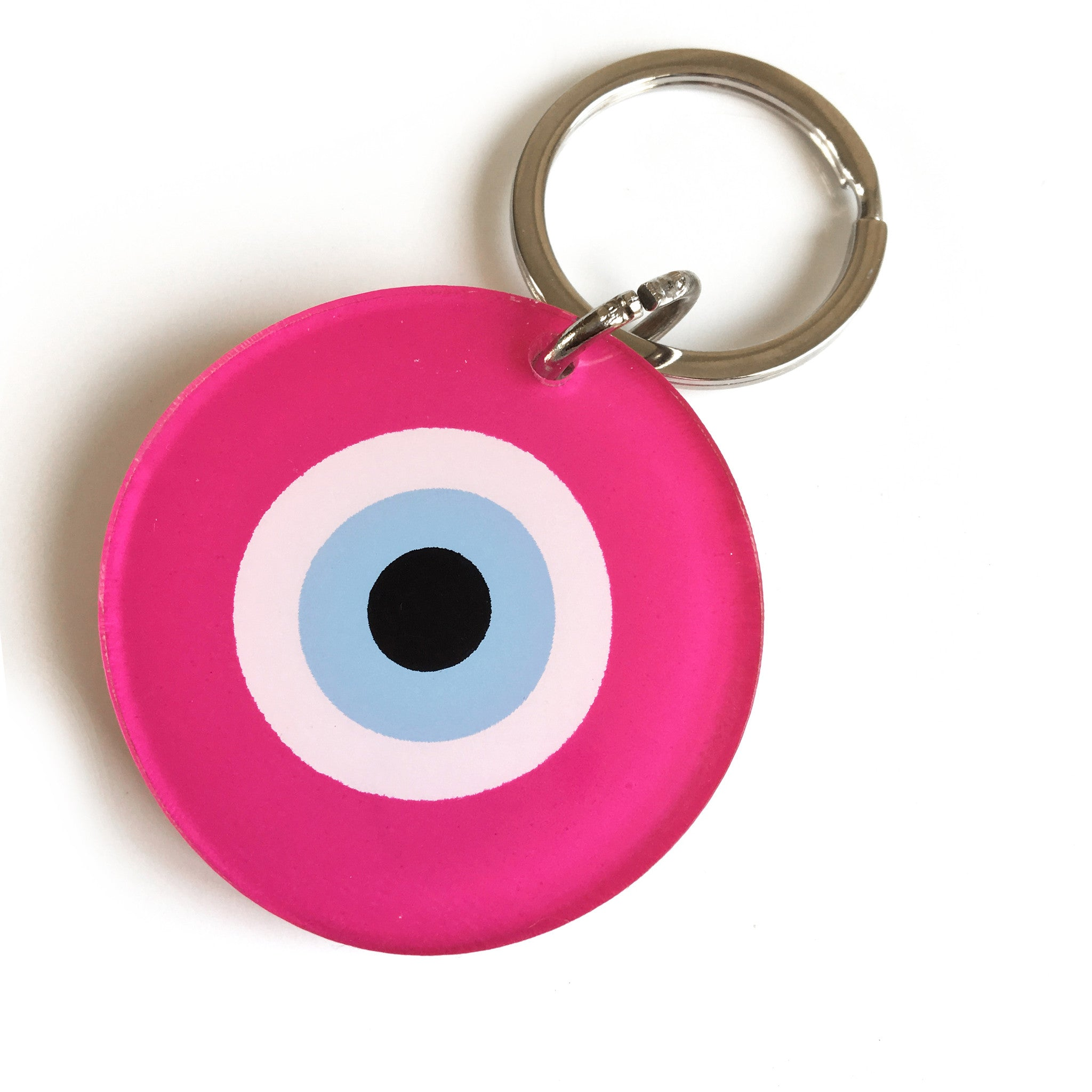 Fuchsia Evil Eye Key Ring