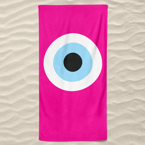 Fuchsia Evil Eye Beach Towel