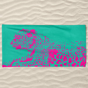 Pink Kitty Beach Towel