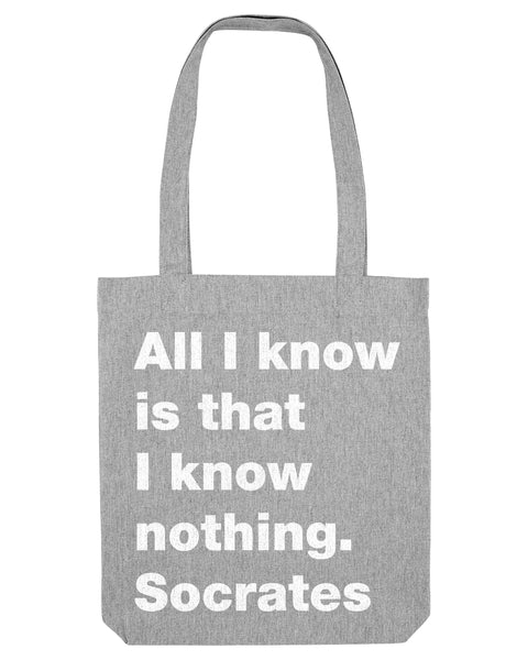 All I know grey canvas tote bag