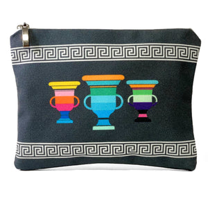Grey meander amphorae bag