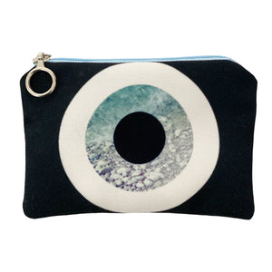 Grey rock evil eye mini coin purse