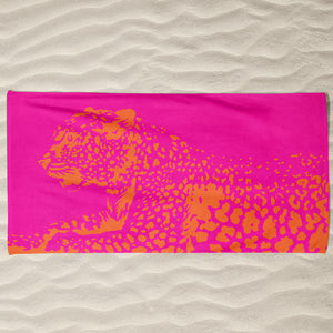 Orange Kitty Beach Towel