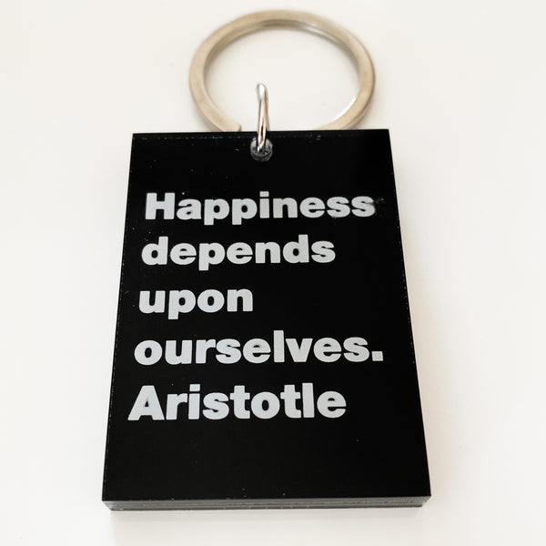 Happiness depends-Aristotle Key Ring